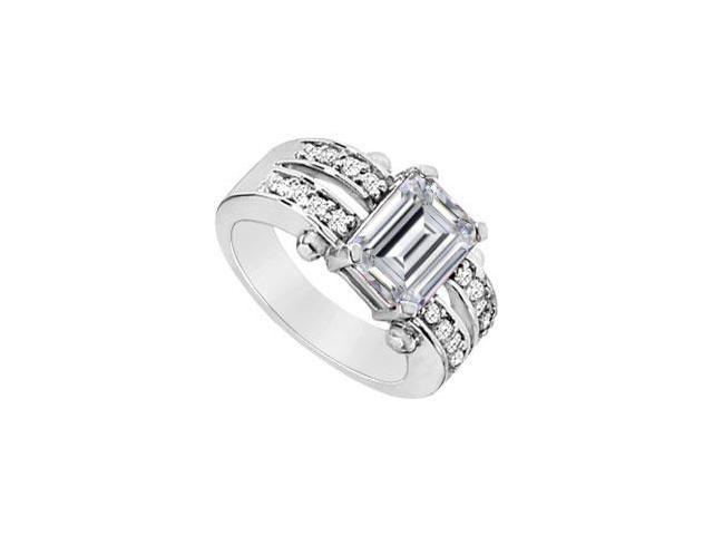Emerald Cut Cubic Zirconia Ring of Triple AAA Quality Set in 925 Sterling Silver Three Carat TG