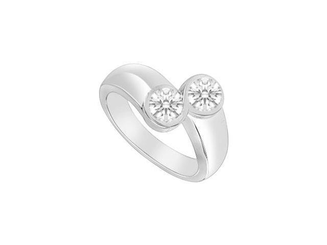 Fashion Cubic Zirconia Ring in Rhodium Plating 925 Sterling Silver One Carat Total Gem Weight