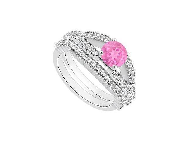 Diamond Wedding bands with Pink Sapphire Engagement Rings in 14K White Gold 1.25 Carat TGW