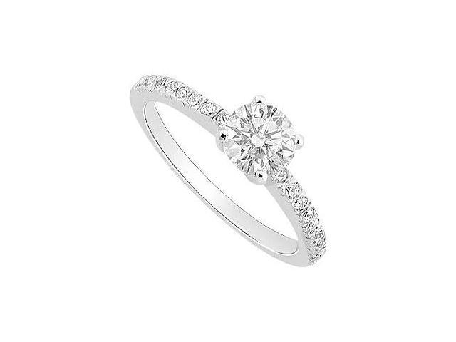 Cubic Zirconia Engagement Ring 10K White Gold 0.50 CT TGW