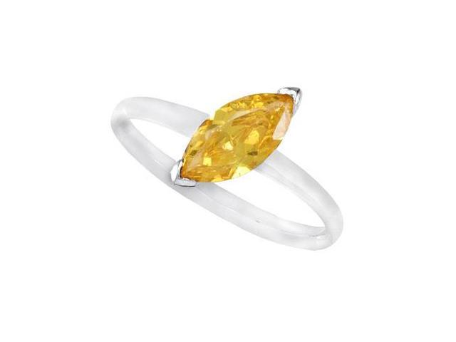Sterling Silver Stackable Citrine Colored Cubic Zirconia Ring