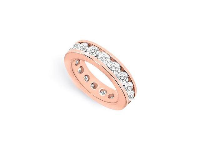 CZ Eternity Band Channel Set in 14K Rose Gold Vermeil 7 CT. TGW.