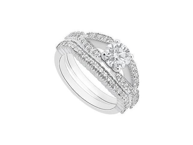 14K White Gold 1 Carat Diamond Engagement Ring with Diamond Wedding Band Rings
