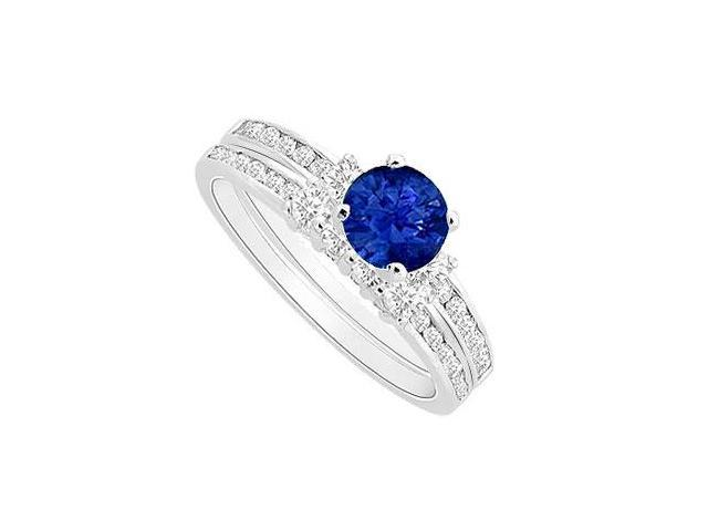 Sapphire and Diamond Engagement Ring with Wedding Band Set  14K White Gold - 0.80 CT TGW