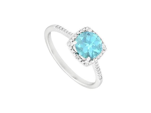 March Birthstone Aquamarine and Diamond Engagement Rings 925 Sterling Silver 1.50 CT TGW