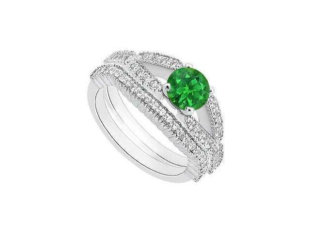 Natural Emerald Engagement Ring with Diamond Wedding Bands in 14K White Gold 1.25 Carat TGW