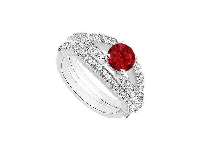 Diamond and Ruby Engagement Ring with Diamond Bands in 14K White Gold 1.25 Carat TGW