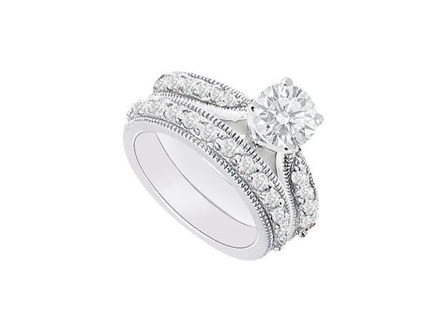 14K White Gold  Diamond Engagement Ring with Wedding Band Set 1.15 CT TDW