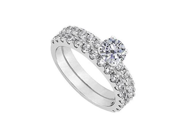 April Birthstone Diamond Engagement Ring with Wedding Band Set in 14K White Gold 1.50 CT TGW
