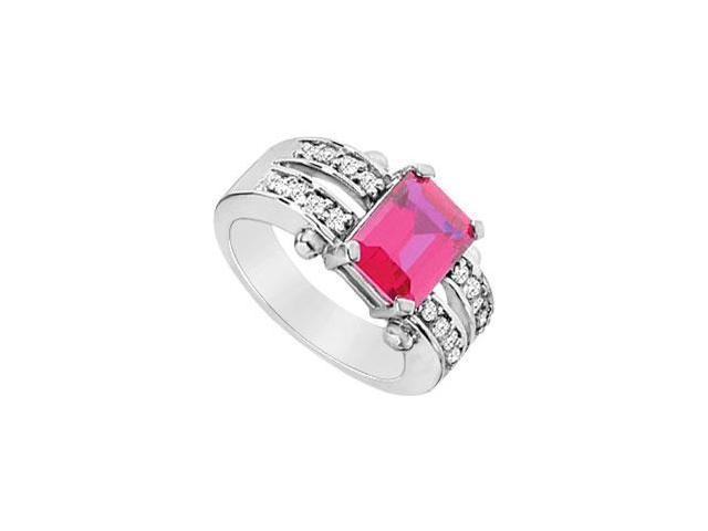 Created Ruby and Cubic Zirconia Ring Three Carat Totaling Gem Weight in 925 Sterling Silver