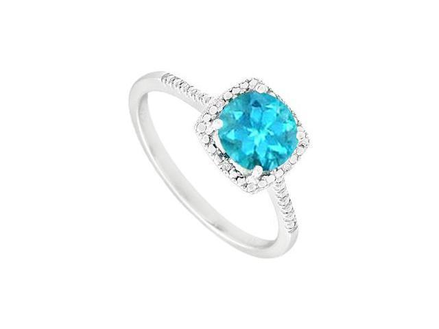 December Birthstone Blue Topaz and Diamond Engagement Rings 925 Sterling Silver 1.50 CT TGW