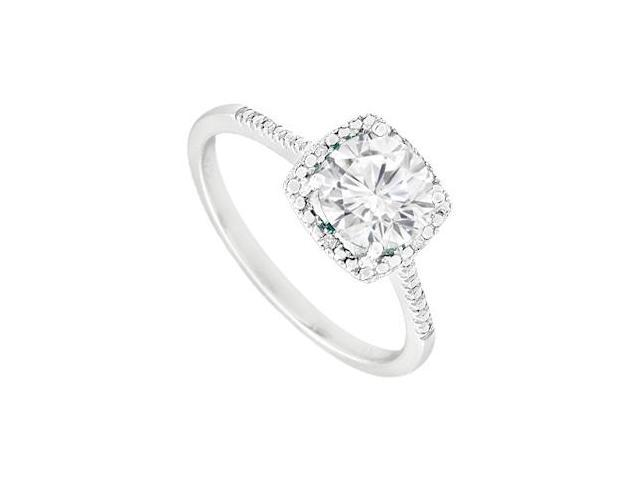 September Birthstone Created White Sapphire  Diamond Engagement Ring Sterling Silver 1.5 CT TGW