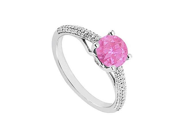 September Birthstone Created Pink Sapphire  CZ Engagement Rings in Sterling Silver 1.00 CT TGW