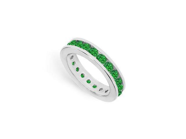 Created Emerald Eternity Ring Stackable Band Sterling Silver. 2ct.tw