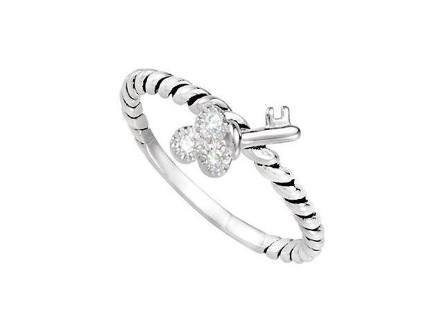 Sterling Silver Stackable Cubic Zirconia Key Ring