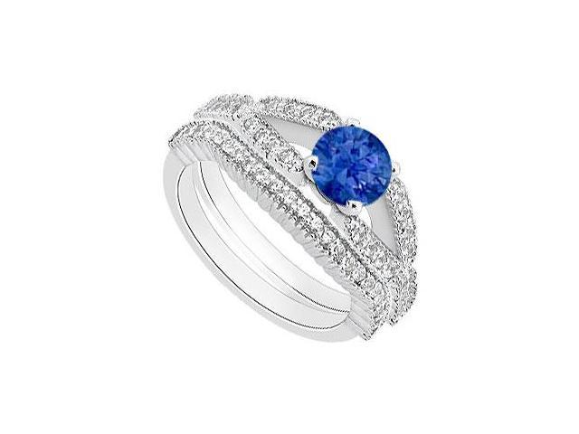 Natural Sapphire Engagement Ring with Diamond Wedding Band in 14K White Gold 1.25 Carat TGW