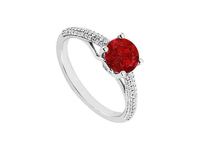 July Birthstone Created Ruby  CZ Engagement Rings in Sterling Silver 1.00 CT TGW