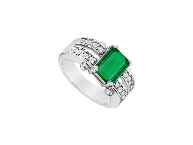 Rhodium Plating 925 Sterling Silver Emerald Cut Created Emerald and CZ Ring Three Carat TGW