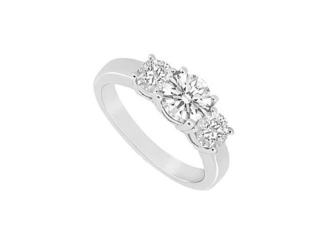 Three Stone Cubic Zirconia Ring 10K White Gold 1.00 CT TGW