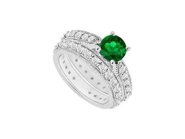 14K White Gold  Emerald and Diamond Engagement Ring with Wedding Band Set 1.20 CT TGW
