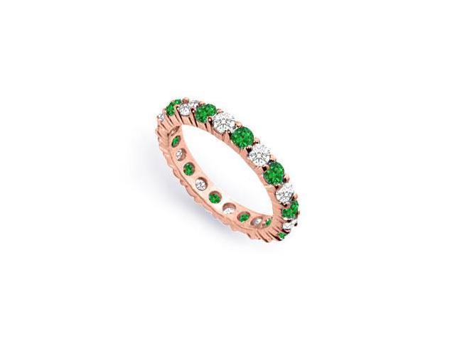 Two Carat Created Emerald and CZ Eternity Band in 14K Rose Gold Vermeil
