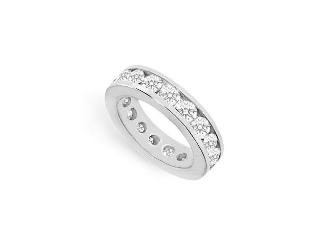Eight Carat CZ Eternity Band in 925 Sterling Silver Channel Setting