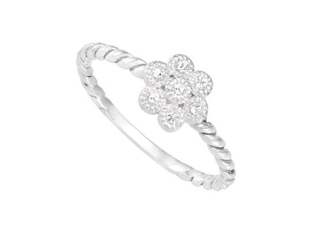 Sterling Silver Stackable Cubic Zirconia Flower Ring