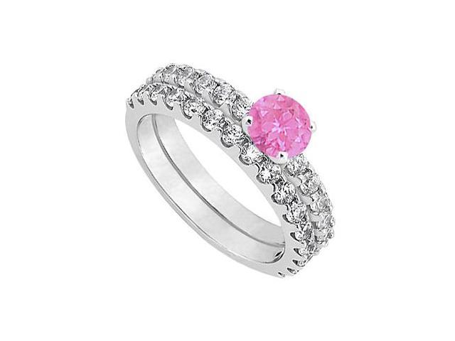 Pink Sapphire  Diamond Engagement Ring with Wedding Band Set 14K White Gold 1.50 CT TGW