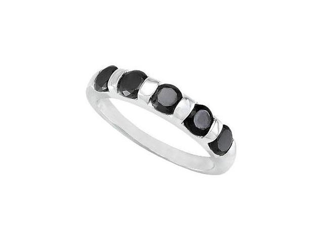 Sterling Sliver Stackable Black Cubic Zirconia Five Stone  Ring