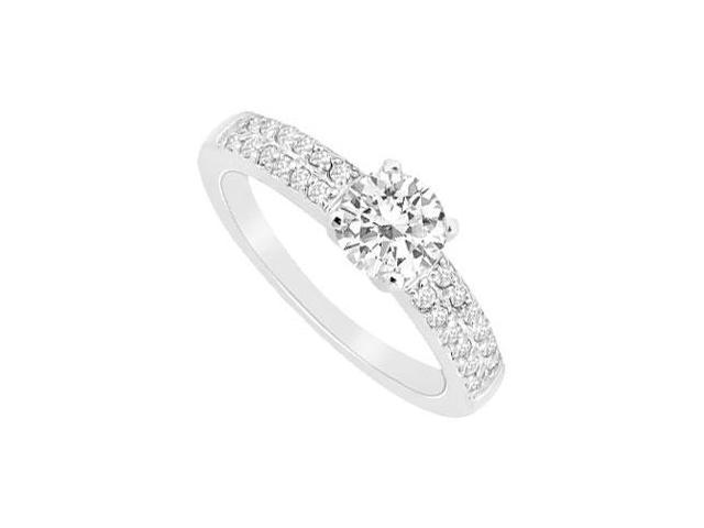 14K White Gold Cubic Zirconia Engagement Ring of 0.75 Carat Total Gem Weight