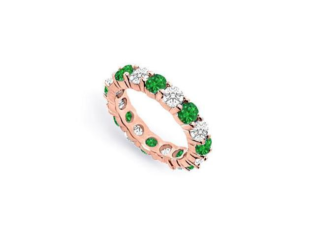 Created Emerald Eternity Band with CZ Four Carat on 14K Rose Gold Vermeil