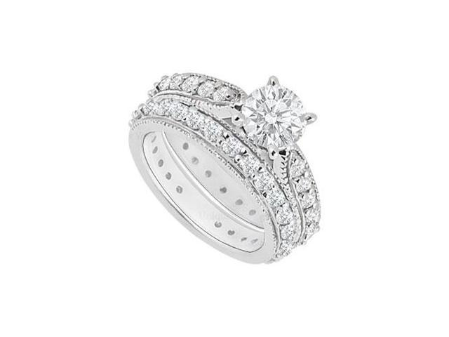 14K White Gold  Diamond Engagement Ring with Wedding Band Set 1.20 CT TDW