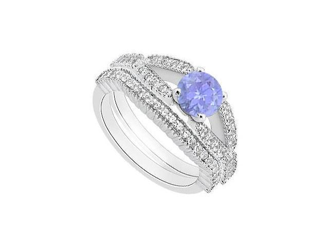 Diamond and Tanzanite Engagement Ring with 14K White Gold Wedding Band of 1.25 Carat TGW