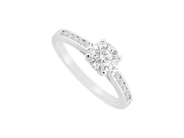 White Gold 14K Cubic Zirconia Engagement Ring of 0.75 Carat Total Gem Weight