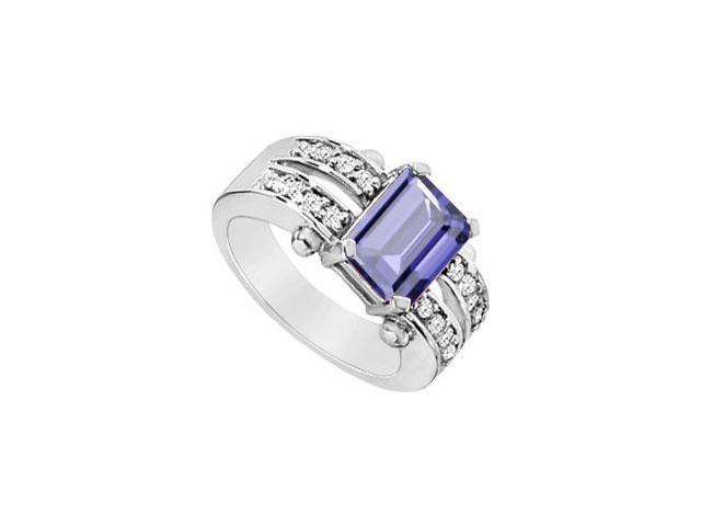 Rhodium Plating 925 Sterling Silver Emerald Cut Created Tanzanite and CZ Ring Three Carat TGW