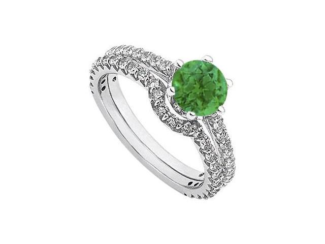 May Birthstone Emerald and Diamond Engagement Rings with Wedding Band Set in 14K White Gold