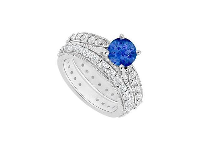 14K White Gold  Sapphire and Diamond Engagement Ring with Wedding Band Set 1.20 CT TGW