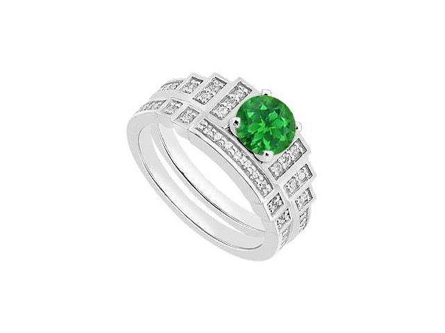 Diamond and Green Emerald Engagement Ring and Wedding Ring in 14K White Gold 1.05 Carat TGW