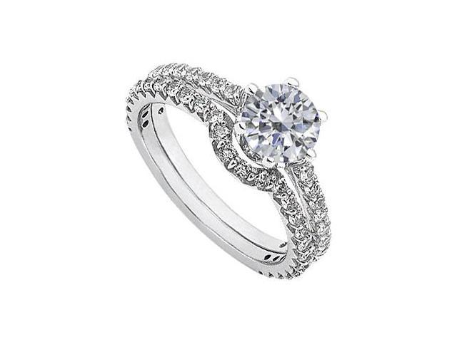April Birthstone Solitaire Diamond Engagement Rings with Wedding Band 14K White Gold 1.83 CT TDW