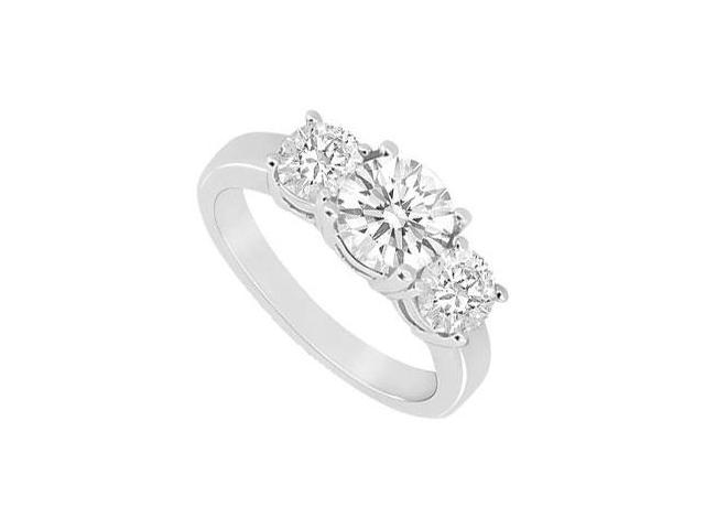 Three Stone Cubic Zirconia Ring 10K White Gold 1.50 CT TGW