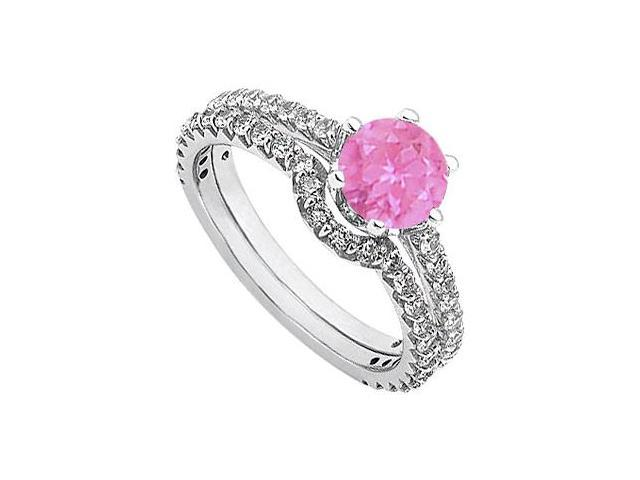September Birthstone Pink Sapphire and Diamond Engagement Rings with Wedding Band Set White Gold