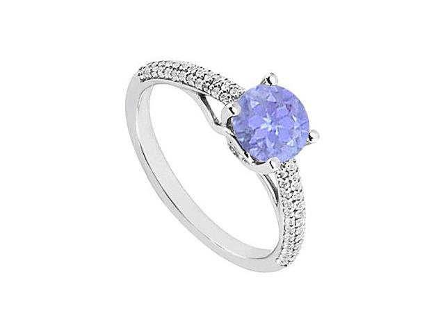December Birthstone Created Tanzanite  CZ Engagement Rings in Sterling Silver 1.00 CT TGW