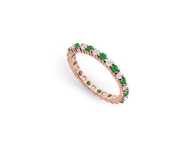 CZ and Created Emerald Eternity Band in 14K Rose Gold Vermeil 1CT. TGW.