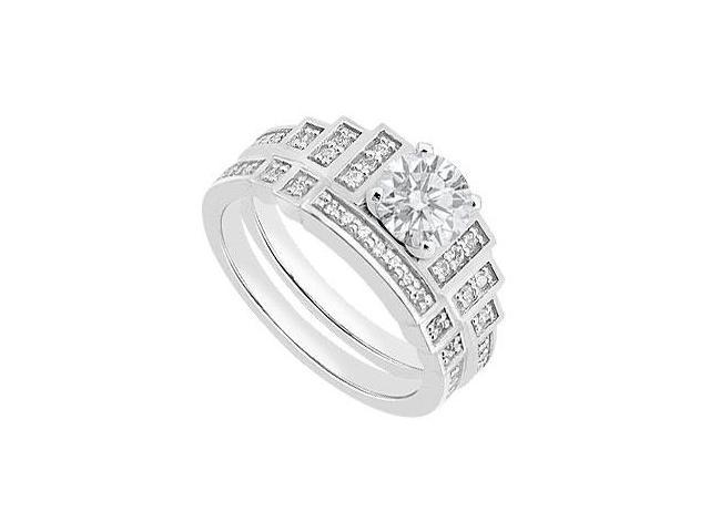 14K White Diamond Engagement Ring with Diamond Bands of 0.80 Carat Diamonds