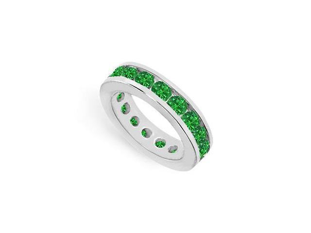 Created Emerald Eternity Ring Stackable Band Sterling Silver. 6ct.tw