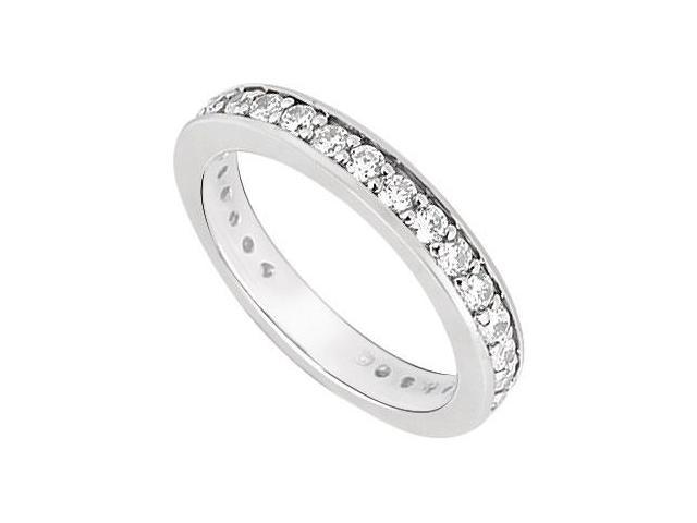 Cubic Zirconia Wedding Band 10K White Gold 0.50 CT TGW