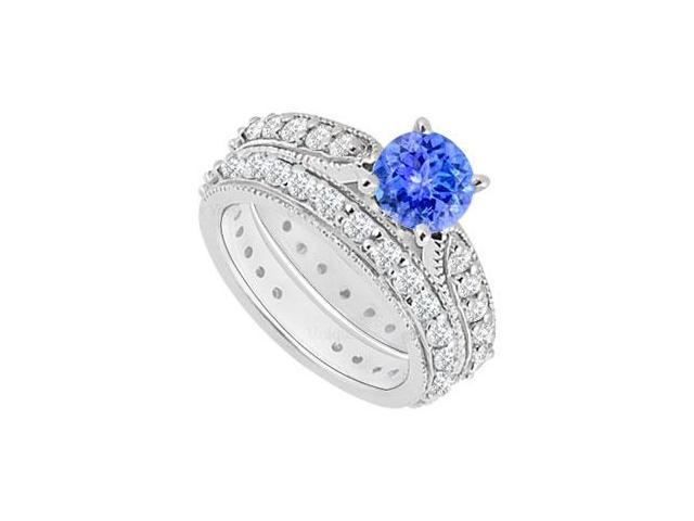 14K White Gold  Tanzanite and Diamond Engagement Ring with Wedding Band Set 1.20 CT TGW