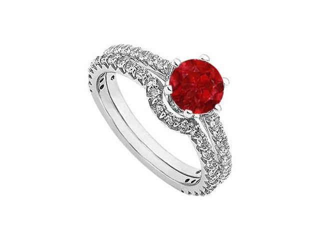 July Birthstone Ruby and Diamond Engagement Rings with Wedding Band Set in 14K White Gold