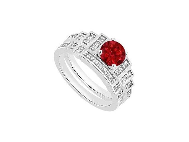 14K White Gold Natural Ruby Engagement Ring with Diamond Bands Set of 1.05 Carat TGW