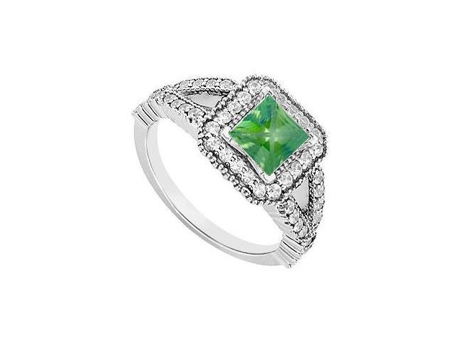 Emerald Created and CZ Engagement Ring One and a Half Carat TGW in 925 Sterling Silver
